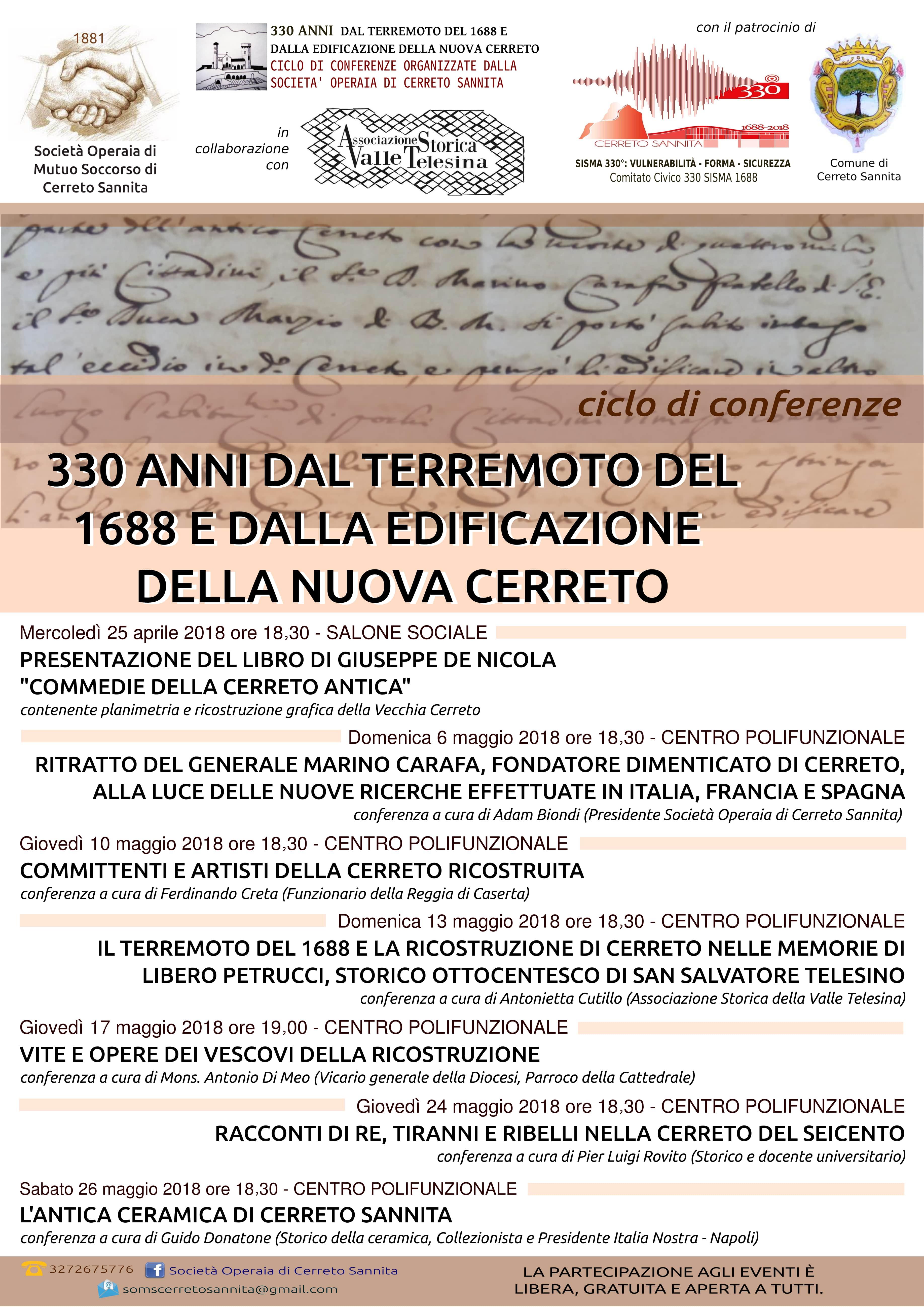 Programma Ciclo di conferenze 330 anni dal terremoto del 1688 e dall'edificazione della nuova Cerreto